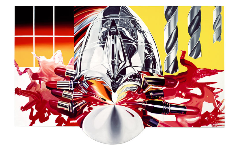 James Rosenquist, The Swimmer in the Econo-mist (painting 3), 1997–98. Oil on shaped canvas, 13 feet 2 inches x 20 feet 3/16 inches (401.3 x 610 cm)