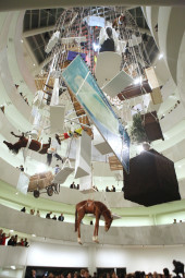 Installation view of Maurizio Cattelan: All at the Guggenheim