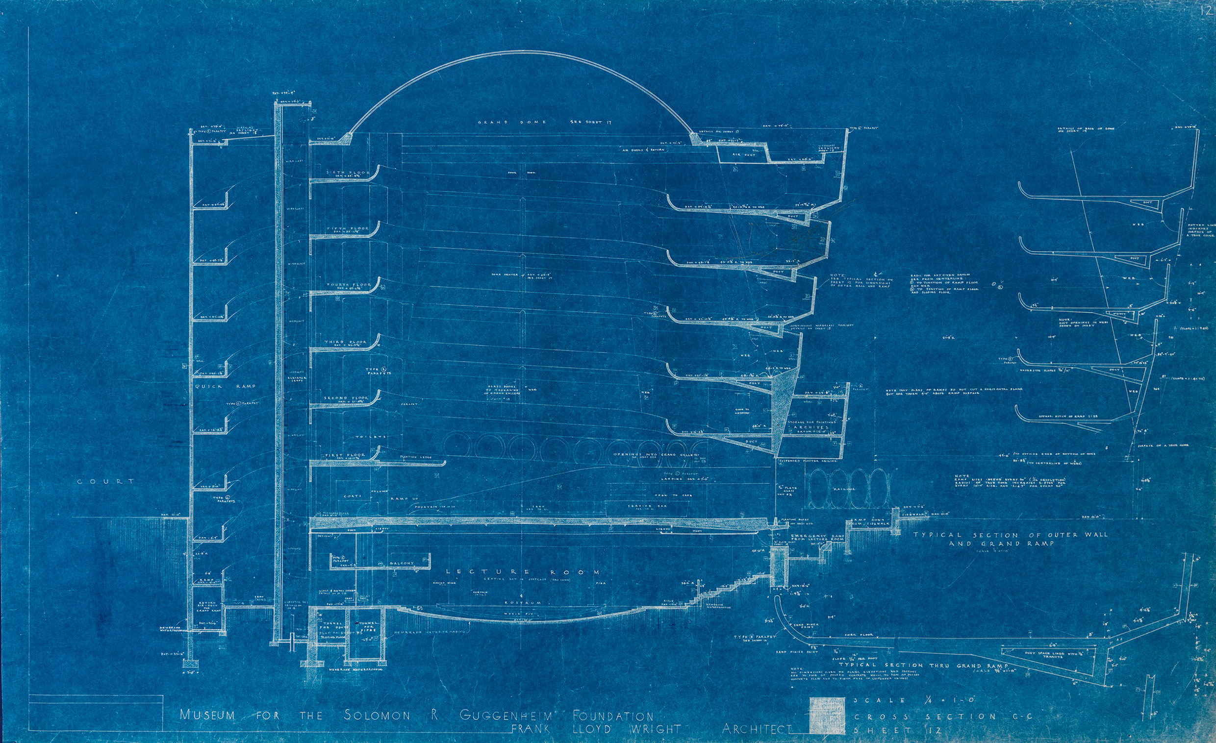 Illuminating details from frank lloyd wrights guggenheim blueprints the quick ramp is depicted on the left hand side of this section drawing from malvernweather Choice Image