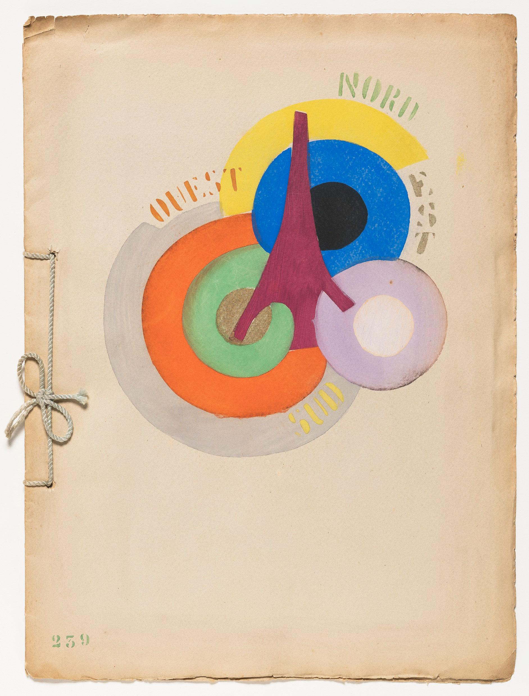 La portada de Robert Delaunay para Tour Eiffel (1918) de Vicente Huidobro, en las colecciones especiales de la Biblioteca Guggenheim.  Foto: Kristopher McKay