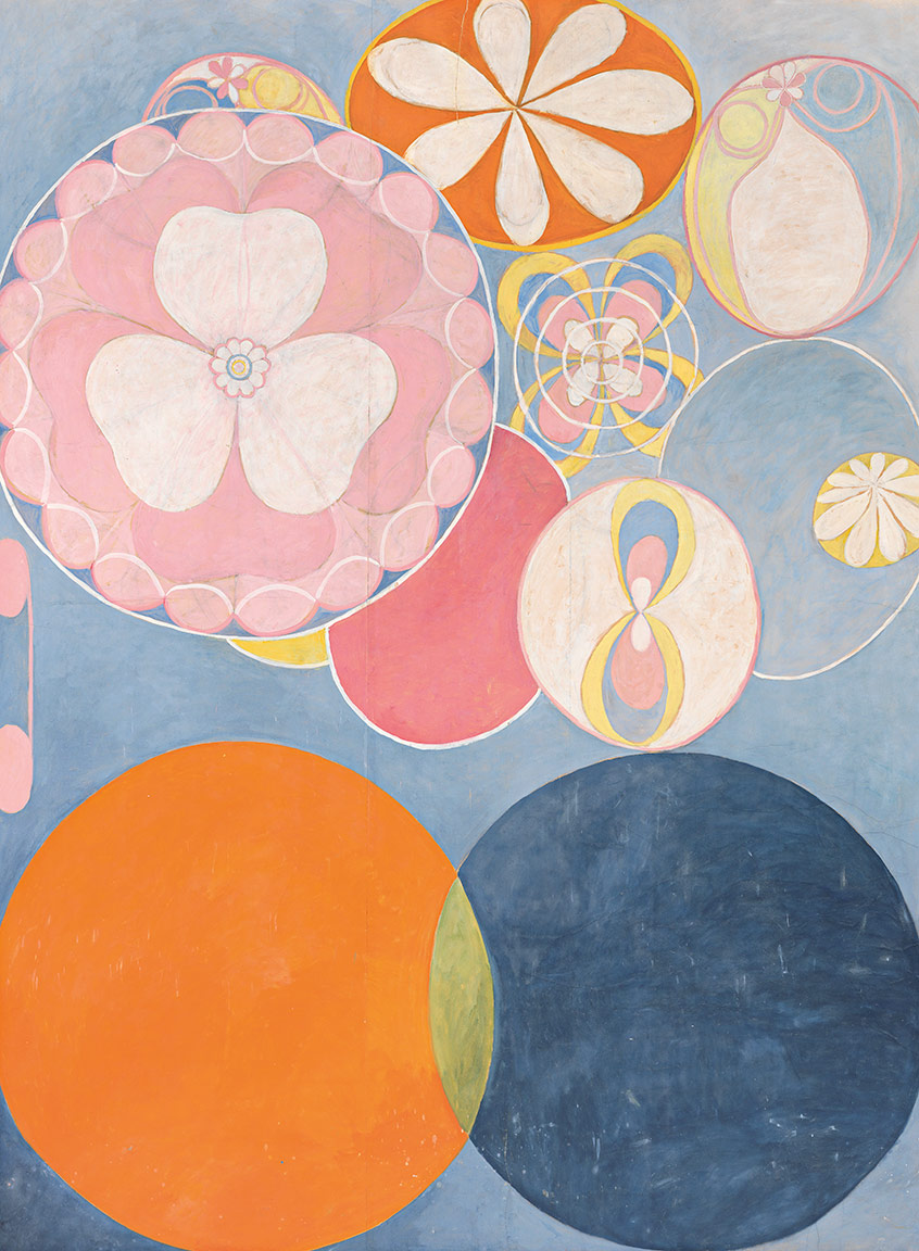 Various circles and florals in pastels, including a pink flower/clover in a blue circle, a white daisy-type flower in an orange circle ringed with yellow and another in a yellow circle, and an orange circle and a blue circle interesecting with the small overlap in yellow
